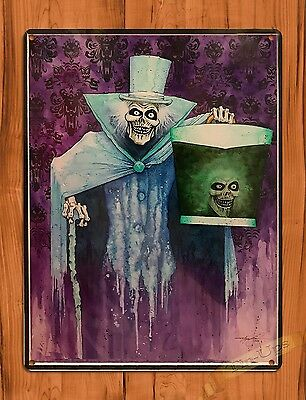 Disney Tin Sign Haunted Mansion Hatbox Ghost Art Ride Movie Poster