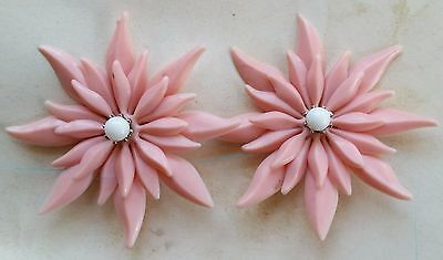 Vintage Earrings - Pink Dahlia Flower Clip on Earrings with White Glass Bead