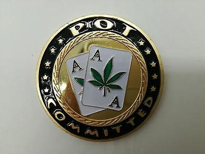POT Committed Poker Card Guard Protector Cover - Pair of Aces Gold Foil Coin