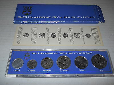 Israel's 25th Anniversary Official Mint Set 1973 Specially Mint Marked + BOI COA