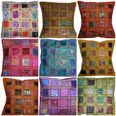 """Cushion Covers 24""""x24"""" Indian Heavy Embroidery Sari Patchwork Square zip 60cm"""