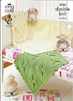 """KING COLE EASY BABY DOUBLE KNITTING PATTERN,COT & PRAM BLANKET 18 x 27- 36 x 45"""""""