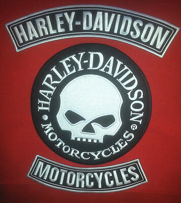 Harley Davidson Rockers W/ Extra Large Reflective 9'' round Willey G Skull Patch