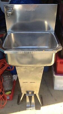 Used Sani-Lav Stainless Steel Hand Sink w/ Double Foot Valve Pedestal Hands Free