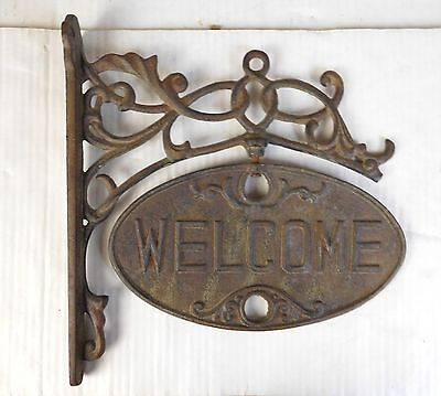Scrolled Cast Iron Tuscan Rustic Welcome Garden Gate Sign