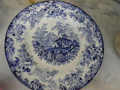 """Charming blue & white MINTON Opaque China 9"""" plate """"Genevese"""" pattern. Excellent"""