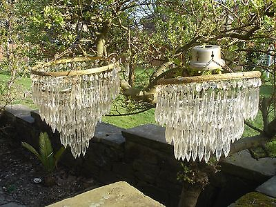 Pair Of Sparkling Vintage Crystal 3 And 5 Tier Waterfall Chandeliers