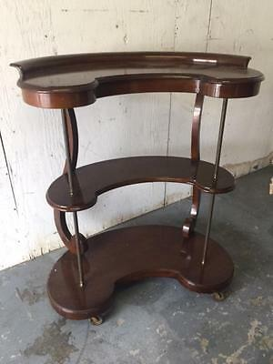 Mahogany American Server or Drink or Food Trolly Brass Pillars on Wheels Castors