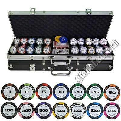 500PCS Deluxe Poker Chip Set 14g Clay Wheat Pattern With Aluminum Alloy Suitcase