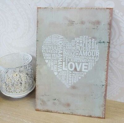 Metal Heart Love Plaque Vintage Distressed Sign Wall Plaque