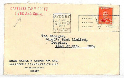 VV395 1941 Australia WW2 VICTORY MAIL Cover *CARELESS TALK COSTS LIVES & SHIPS*
