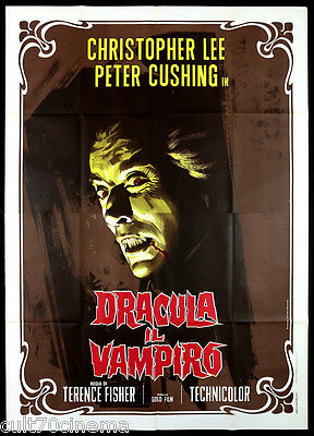 Dracula Il Vampiro Manifesto Cinema Fisher Christopher Lee Horror 1958 Poster 4F