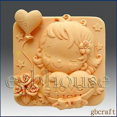 Silicone mold, 2D Soap/Plaster/Polymer Clay Mold – Hearts & Roses – Girl