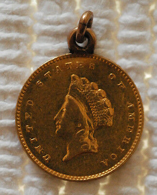 US Type II Gold Dollar Sweetheart Love Token engraved initials on reverse
