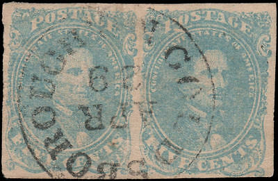 Confederate States of America #4b Used pair, nice SON cancel, milky blue