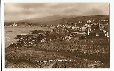 Wales Borth View from Headland Real Photo Vintage Postcard 9.5