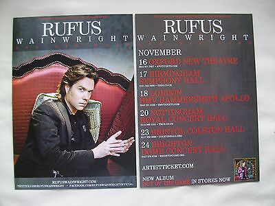"""RUFUS WAINWRIGHT Live """"Out of the Game"""" 2012 UK Tour. Promo card flyers x 2"""