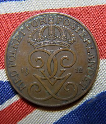 1912 Sweden  5 Ore high grade Coin