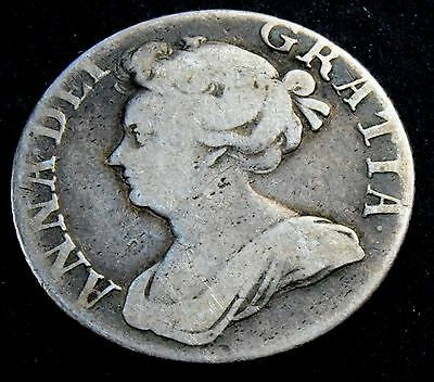 1709 Queen Anne Silver Shilling Coin - GREAT BRITAIN
