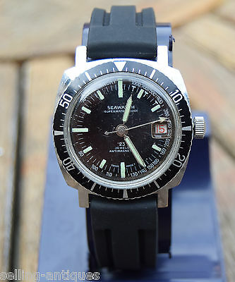 VINTAGE 1960s SEAWATCH GENTS 23J DIVERS WRIST WATCH VGC WORKING
