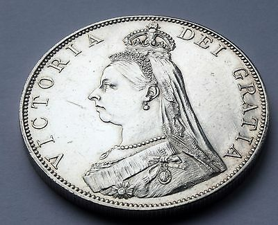 1887 Queen Victoria Great Britain Silver Double Florin cleaned HIGH GRADE COIN