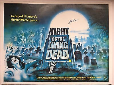 Night of the Living Dead UK Quad cinema movie poster rolled- signed John Russo