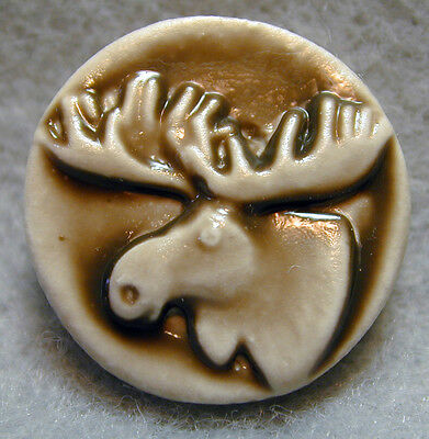 Handcrafted Art Stone Button Moose Head FREE US SHIPPING
