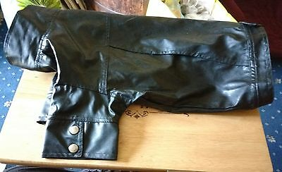 Black Leather Look Dogs Biker Jacket  Coat size 20 inches