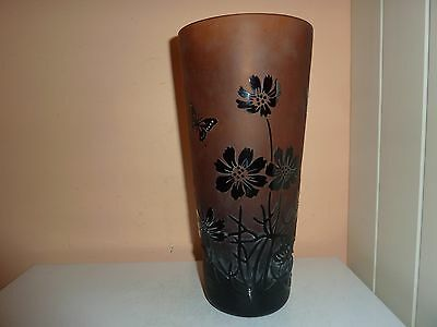 Galle Style Glass 28Cm High Vase With Over Laid Style Flower/leaf/butterfly Deco