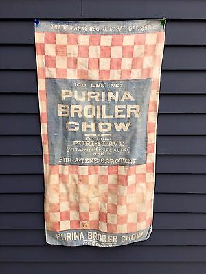 """Antique poultry feed sack cloth Purina red check chick 20"""" x 38"""" farm barn find"""