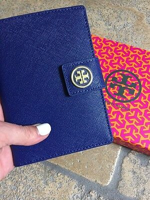 Genuine Tory Burch Navy York Robinson Saffiano Leather Passport Case Wallet NEW