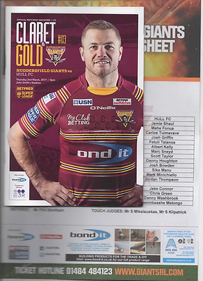 2017-Huddersfield Giants  V Hull Fc-2/3/17-Rugby League Programme-Teamsheet