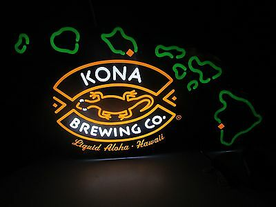 Kona Brewing Co Hawaiin Islands LED beer Bar Sign man cave Neo Neon opti Light