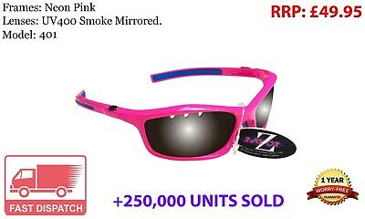 RayZor Uv400 Pink Sports Wrap Sunglasses Vented Smoked Mirrored Lens RRP£49 (401