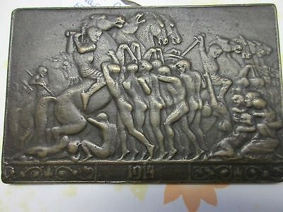 BRASS OR BRONZE ?   METAL 1914 PLATE 4 1/8 x 2 3/4  I know nothing but it's cool