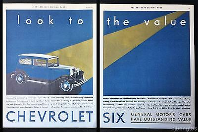 1931 Chevrolet Six 2-Door Sedan Look to Value 2-Page Vintage Print Ad