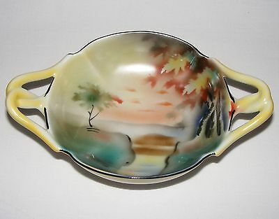 Vintage Antique ART DECO Hand Painted PRUSSIA Double Tab Handle Candy Bowl
