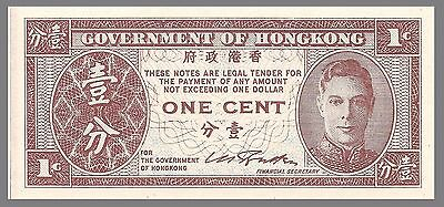 Hong Kong P321 1 Cent Bust of King George VI, 1945, Uncirculated