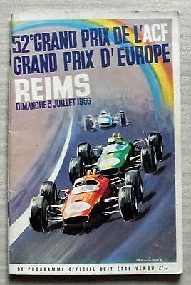 GRAND PRIX OF EUROPE FORMULA ONE F1 July 1966 Reims Official Race Programme