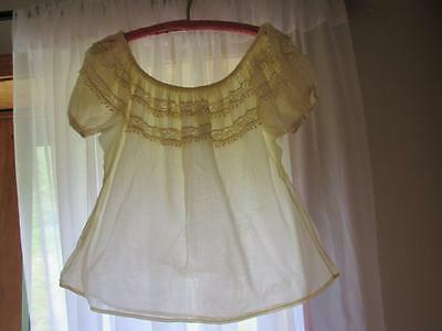 Antique Victorian Handmade Corset Cover Lace Puff Sleeves Top