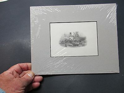 Vintage Train and Ship vignette beautiful by Canadian Bank Note Co.