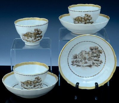 18Th C Chinese Qianlong Export Grisaille Castle Scenic Tea Bowls Cups Saucers
