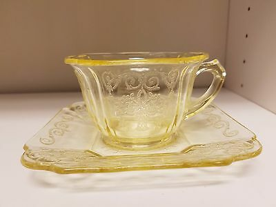 Yellow Lorain Basket Depression Glass Cup and Saucer Indiana 1929-32