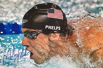 Swimming Diving Michael Phelps Original Hand Signed Photo 12x8 With COA