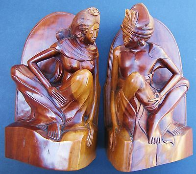 Vintage Balinese Carved Wood Portrait Bookends Bali Indonesia Carving Sculpture