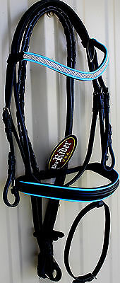 Horse English Show Padded Bridle Crystal Bling Browband Turquoise 80301T