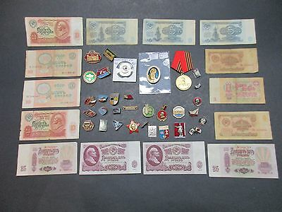 Lot Of Russian Currency Lapel Pins Etc   Look Close Some Nice Items