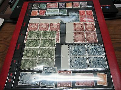Canada STAMPS OLDER SINGLES AND ASSORTMENT OF BLOCKS MNH/MH (LT1)