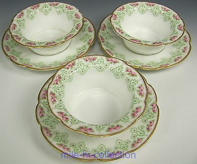 Limoges Hand Painted Roses Ramekins With Saucers