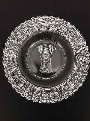 """Early American Pattern Glass Motto Plate """"Give Us This Day Our Daily Bread"""" EAPG"""